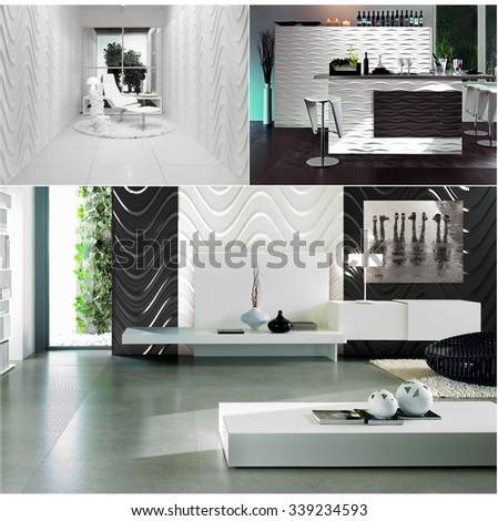 3d rendering collage of three contemporary monochrome minimalistic interiors - stock photo