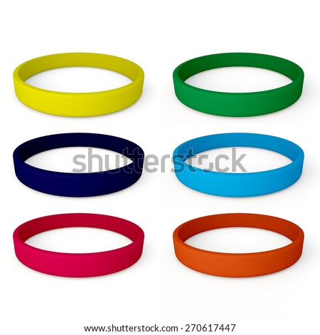 3D Rendering Colorful Blank Rubber Bracelet in Isolated Background with Work Paths, Clipping Paths Included. - stock photo