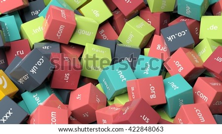 3d rendering, colorful cubes with domain extensions, background - stock photo