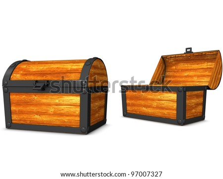3d rendering, conceptual image, vintage look treasure chest. - stock photo
