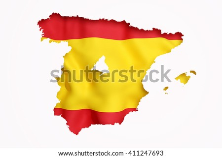3d rendering contour of Spanish map with Madrid city.Spanish flag on background - stock photo