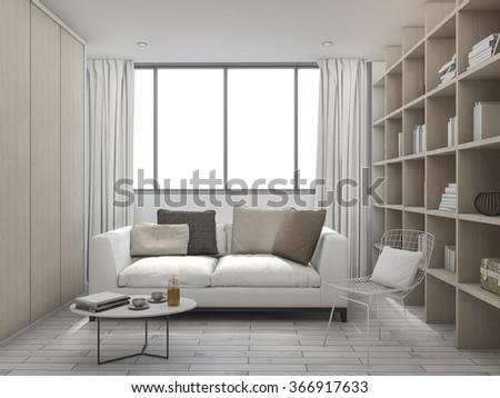 3d rendering cushion living room with bookshelf - stock photo