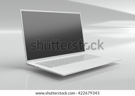 3D rendering, 3D illustration white computer on a white background, advertising, selling laptop Notebook - stock photo