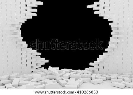 3D rendering Destruction of a white brick wall on black background - stock photo
