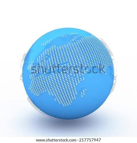 3d rendering Dotted Globes - stock photo