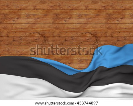 3D rendering Flag of Estonia, waving over a background of wooden strips - stock photo