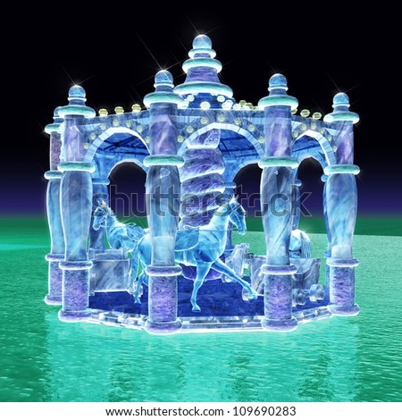 3d rendering for merry-go-round of ice sculpture with concise background - stock photo