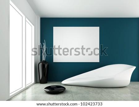 3d rendering for modern form interior design - stock photo