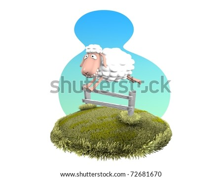 3d rendering, Funny sheep jumping over fence, isolated on white. - stock photo