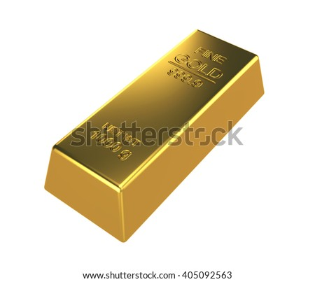 3D Rendering Gold bar on white background - stock photo