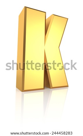 3d rendering golden letter K isolated on white background - stock photo