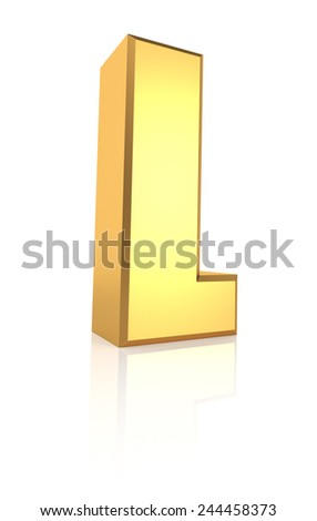 3d rendering golden letter L isolated on white background - stock photo
