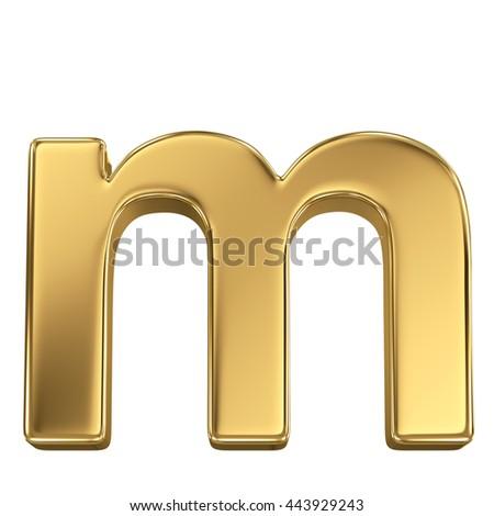 3d rendering, golden shining metallic font, lowercase letter m - isolated on white - stock photo