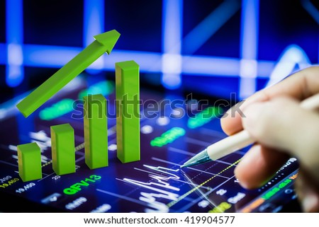 3d rendering growth graph on digital tablet - stock photo