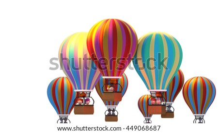 3d rendering happy cartoon kid characters having fun on their hot air balloon ride. Outdoor sports recreational activities for summer vacation. - stock photo