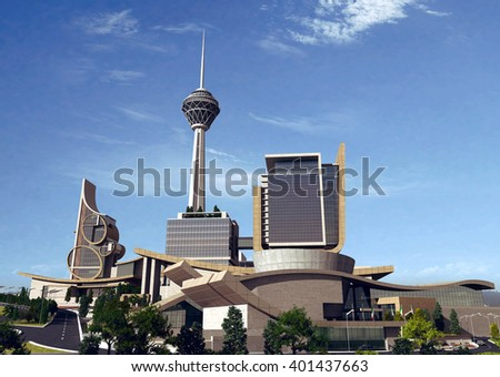 3d rendering - Hotel and administrative complex - Entrance - stock photo