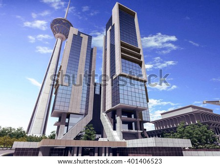 3d rendering - Hotel and administrative complex - Hotel 3 - stock photo