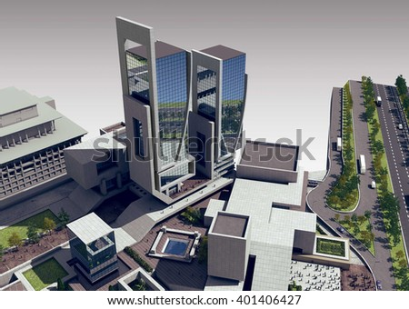 3d rendering - Hotel and administrative complex - Trade center - stock photo