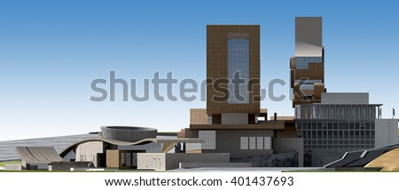 3d rendering - Hotel and administrative complex - West view - stock photo
