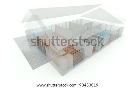 3D rendering house plan - stock photo