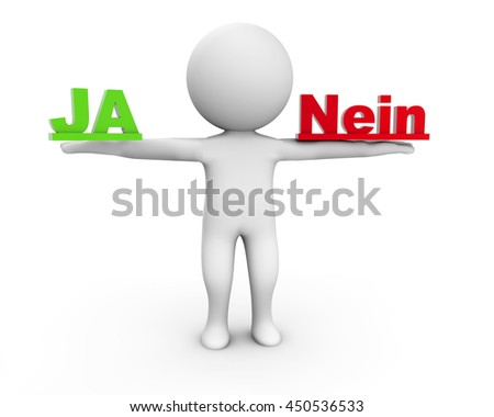 3D Rendering Human Character holding Ja and Nein - stock photo