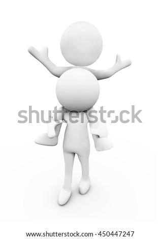 3d Rendering Human Character, piggback - stock photo