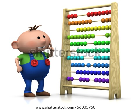 3d rendering/illustration of a cute cartoon boy standing in front of an abacus - stock photo