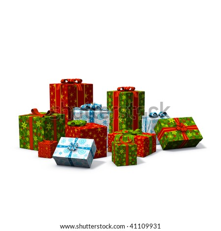 3d rendering/illustration of a pile of christmas presents - stock photo