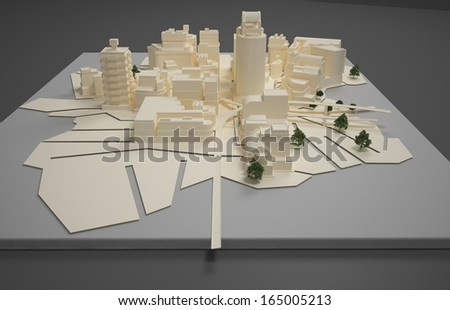 3D rendering Illustration of architect plan model - stock photo