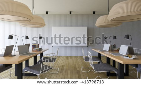 3d rendering image of working room which have a blank white board for fill your words - stock photo