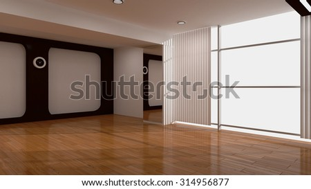 3d rendering interior. Blank interior with white walls, oak floor. - stock photo