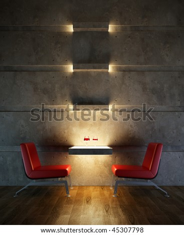 3d rendering interior lounge room - stock photo