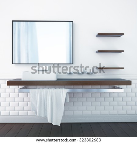 3d rendering interior of a bathroom - stock photo