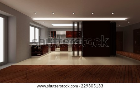 3d rendering. Interior of modern apartment, kitchen room with large windows - stock photo