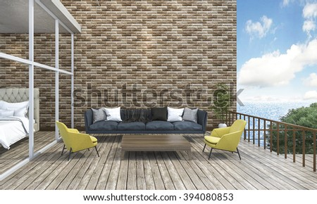 3d rendering living style sofa outdoor terrace near the sea - stock photo