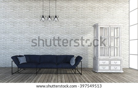 3d rendering loft style sofa in white brick wall room - stock photo