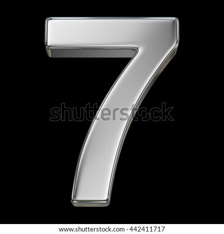 3d rendering, metal number collection - seven, from chrome solid material. - stock photo