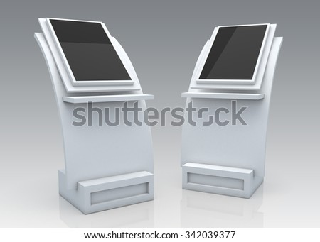3D Rendering Mock Up Information Kiosk, POS POI in Isolated Background with Work Paths, Clipping Paths Included. - stock photo