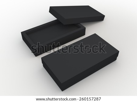 3D Rendering Mock Up Matte Black Box, packaging Design for Candy, Snack in Isolated Background with Work paths, Clipping paths Included. - stock photo