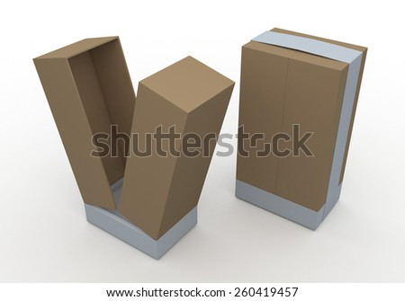 3D Rendering Mock Up Original Brown Box and White Ribbon New Design for Vertical Product in Isolated Background with Work Paths, Clipping Paths Included. - stock photo