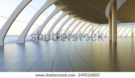 3d rendering.Modern airport passenger terminal. Empty hall interior with ceramic floor to ceiling windows and scenic background - stock photo