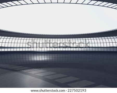 3d rendering. Modern airport passenger terminal. Modern Architecture - stock photo