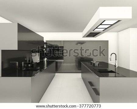 3d rendering modern style with reflect material kitchen - stock photo