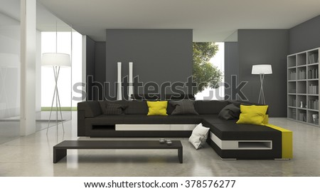 3d rendering modern yellow and black fabric sofa in bright living room - stock photo