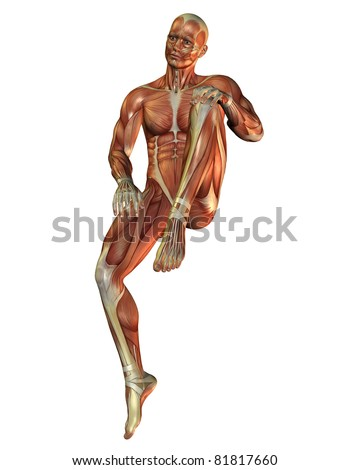 3D Rendering Muscle man in a sitting posture - stock photo