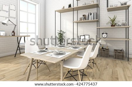 3d rendering nice brick dining room with shelf idea - stock photo