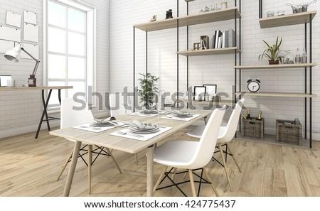 3d rendering nice brick dining room with shelf idea - stock photo
