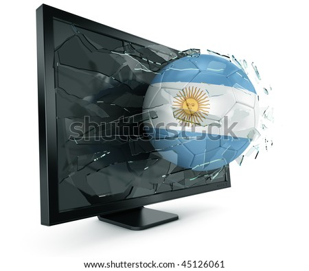 3d rendering of a Argentinian soccerball breaking through monitor - stock photo