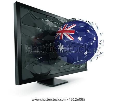 3d rendering of a Australian soccerball breaking through monitor - stock photo