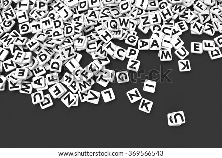 3D rendering of a background made of letter tiles - stock photo